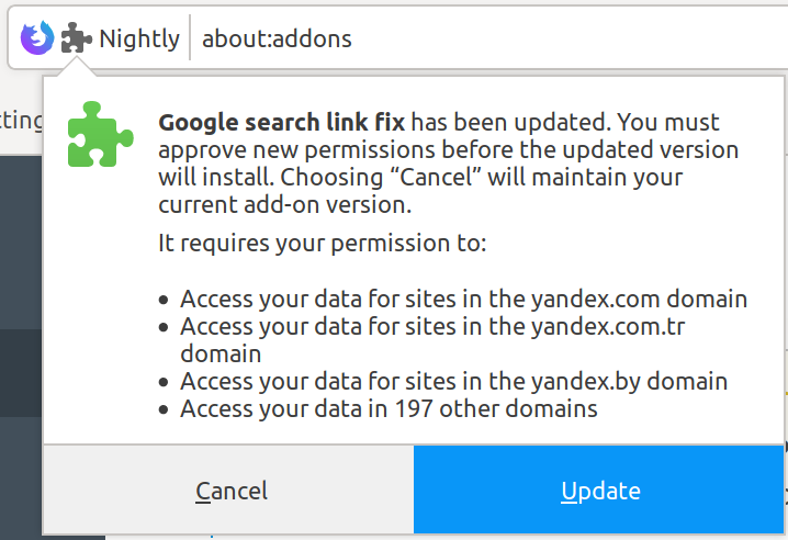 Permissions prompt on update in Firefox