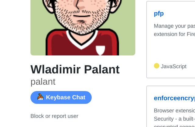 Keybase chat button on Github