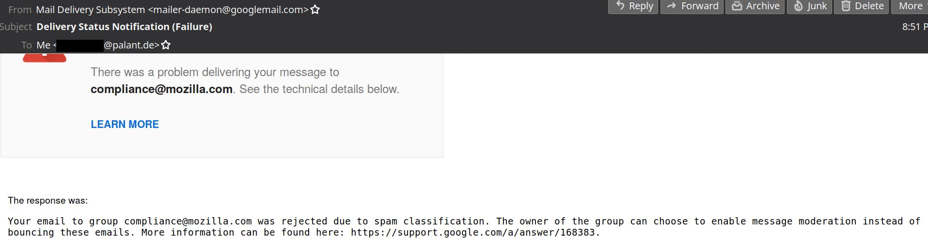 Screenshot of Mozilla's bounce mail