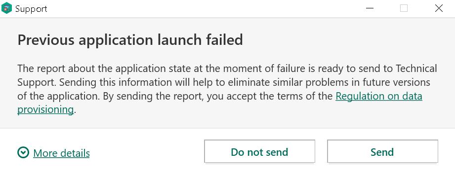 Message displayed by Kaspersky when restarted after a crash
