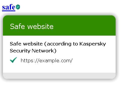 URL Advisor pop-up on a link
