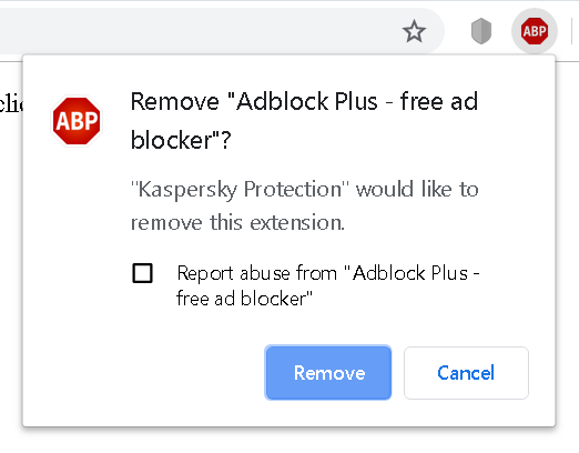 Prompt displayed by the browser when Kaspersky Protection tries to remove another extension
