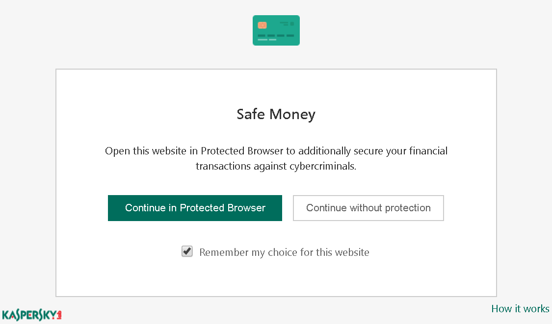 Safe Money prompt asking the user whether to open the site in a protected browser