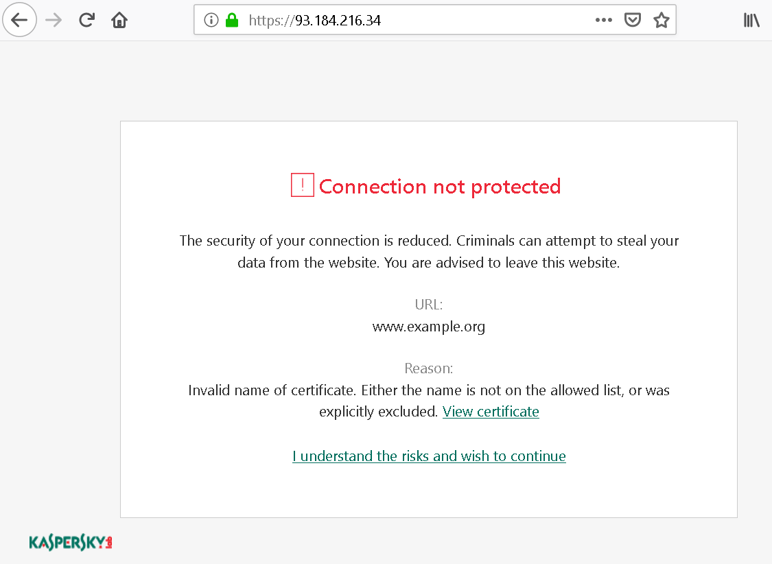 Certificate warning page when Kaspersky is installed