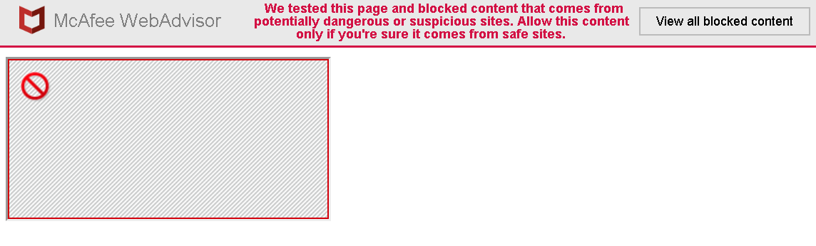 Frame blocked by McAfee Web Advisor along with a message allowing it to be unblocked