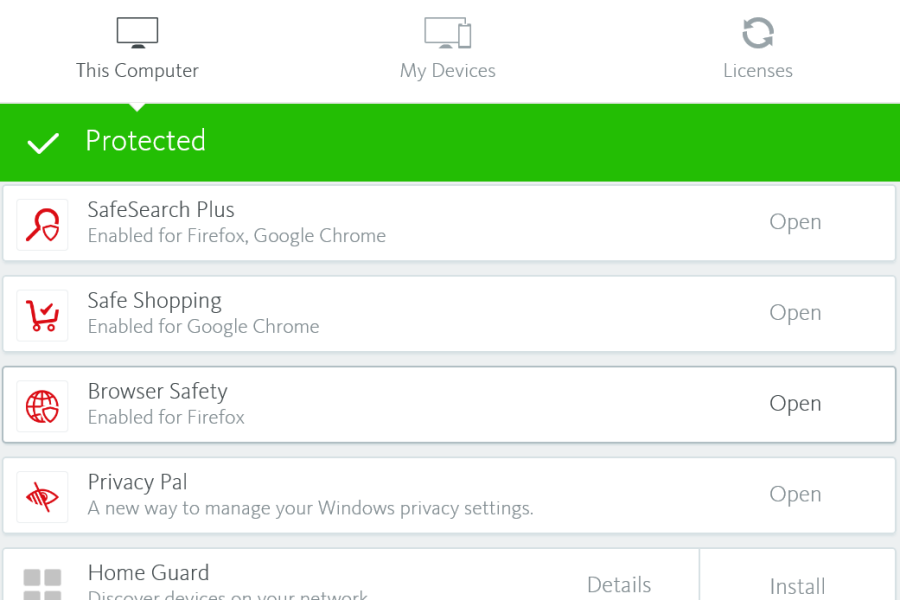 Avira user interface offering Browser Safety extension as protection feature