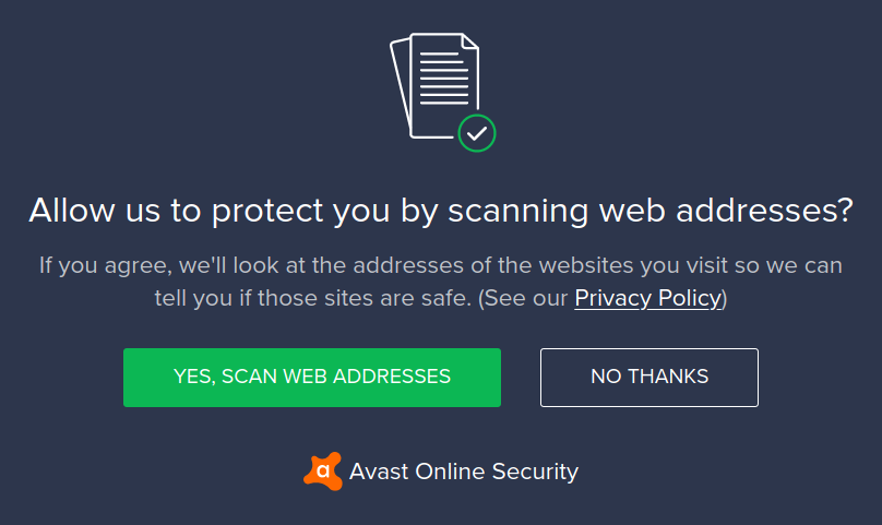 Consent screen asking permission to look at web addresses