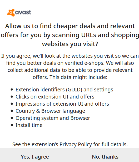Consent screen asking for access to an extensive set of data