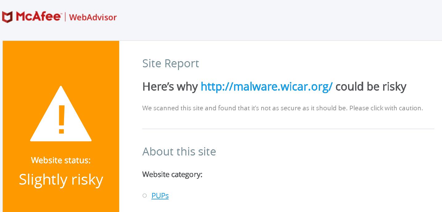 McAfee WebAdvisor site report for malware.wicar.org
