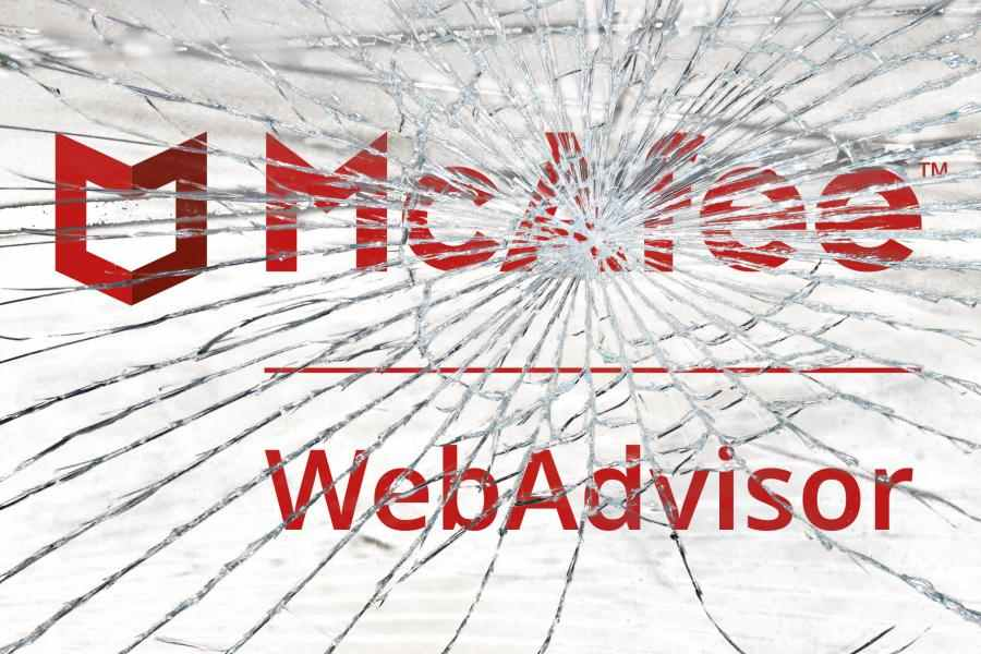 McAfee WebAdvisor shattered like glass