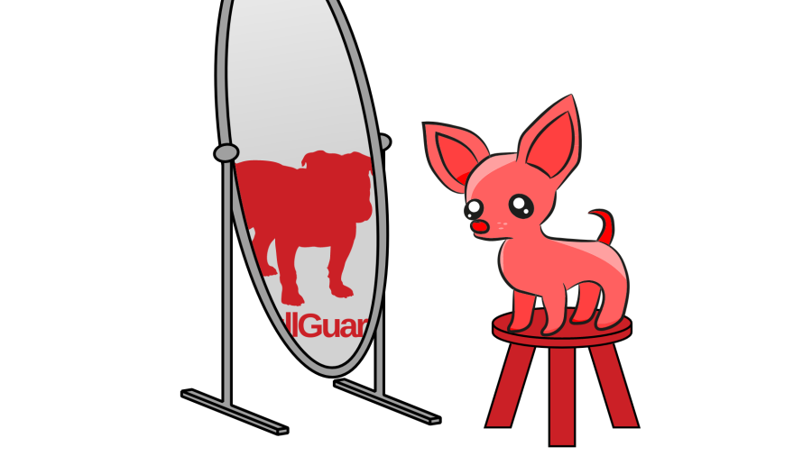 Chihuahua looking into a mirror and seeing a bulldog (BullGuard logo) there