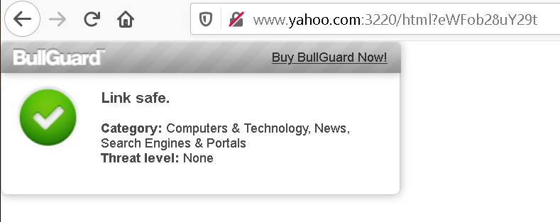 'Link safe' message showing up under the address http://www.yahoo.com:3220/html?eWFob28uY29t