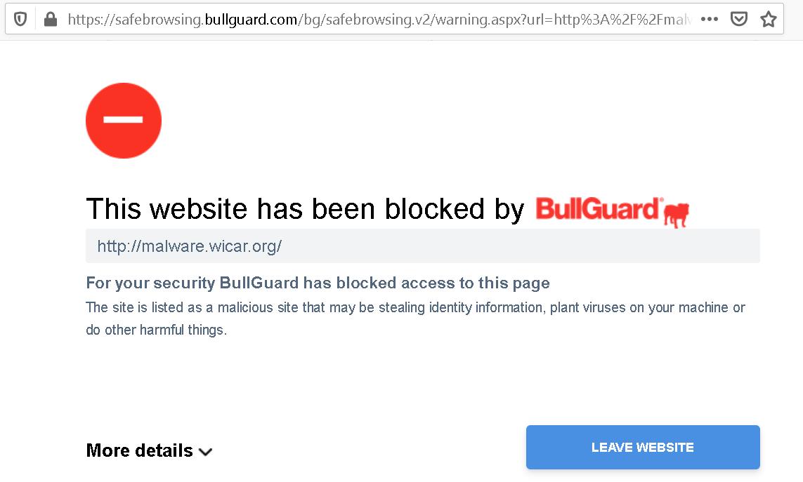 Warning page originating at safebrowsing.bullguard.com indicating that malware.wicar.org is blocked