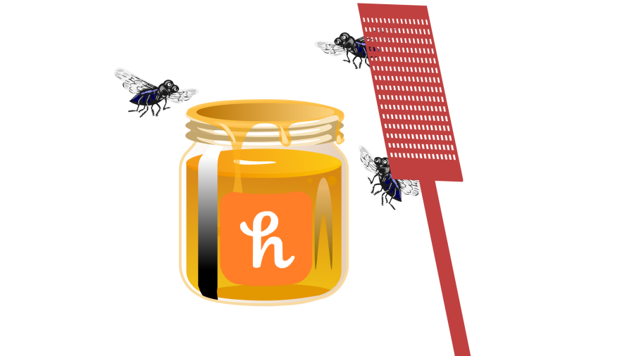 Flies buzzing around an open honeypot, despite the fly swatter nearby.