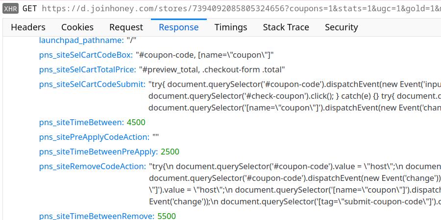Store configuration for hostgator.com containing JavaScript code