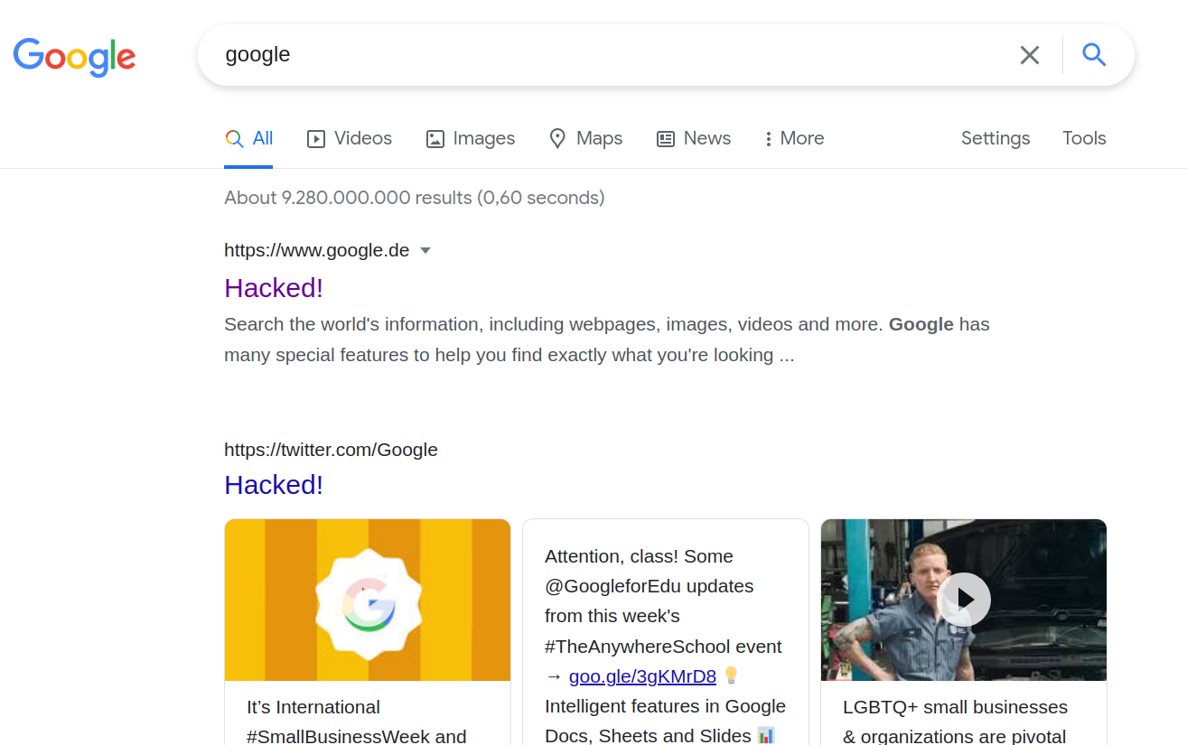 Google search result page for the search 'google' with the titles of all search results replaced by 'Hacked!'