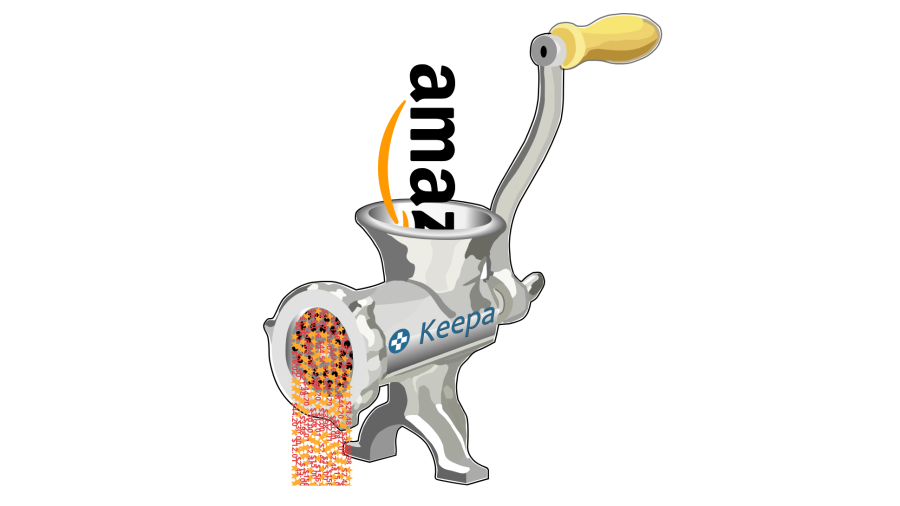 Meat grinder with the Keepa logo on its side is working on the Amazon logo, producing lots of prices and stars